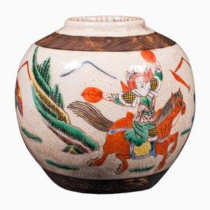 Kleine antike japanische Blumenvase oder Blumenurne aus Keramik, 1850er