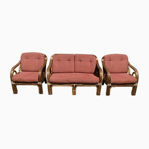 Vintage Rattan Living Room Set, Set of 3