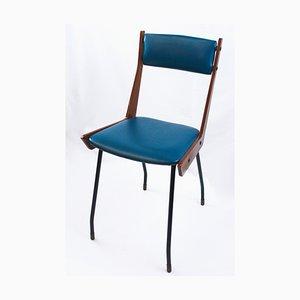 Mid-Century Stuhl aus blauem Kunstleder mit Holzgestell von RB Rossana, 1950er