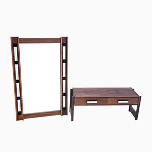 Rosewood Mirror with Commode, 1960s, Set of 2