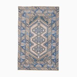 Blauer türkischer Vintage Oushak Teppich