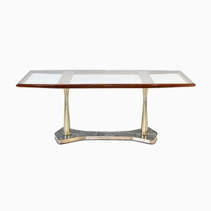 Tavolo da pranzo in teak, ottone e marmo, Italia, anni '60