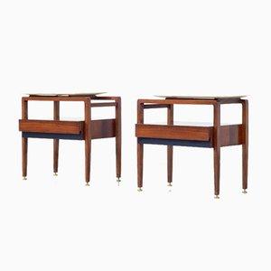 Tables de Chevet en Palissandre et Marbre de Carrare, Italie, 1960s, Set de 2