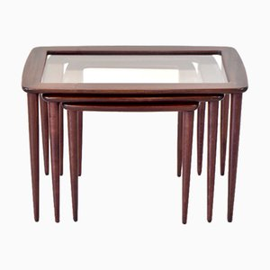 Italian Mahogany Nesting Tables with Glass Tops by Ico Parisi, 1960s, Set of 3