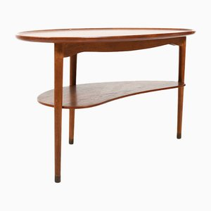 Kidney-Shaped Teak and Oak Coffee Table by Anton Kildeberg, 1950s