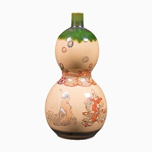 Antike japanische Gerbera Vase aus Keramik aus der Meiji-Zeit, 1900er