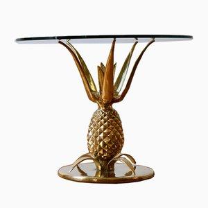 Pariser Hollywood Regency Skulpturaler Messing & Glas Ananas Couchtisch, 1970er