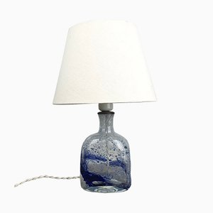 Table Lamp in Clear Glass with Blue Texture from Holmegaard