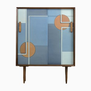 Scandinavian Mid-Century Modern Hand-Painted Birch Cabinet, 1960s
