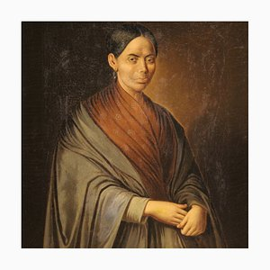 Tableau Portrait Antique, Italie, 19ème Siècle