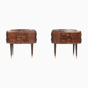 Italian Walnut Burl & Brass Nightstands, 1960s, Set of 2