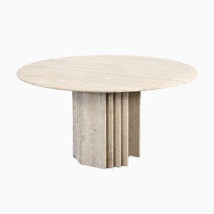 Italian Geometric Travertine Dining Table, 1970s