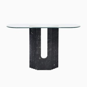 Italian Geometric Carrara Marble & Glass Console Table from Cattelan Italia, 1960s