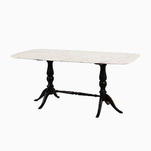 Mid-Century Italian Carrara Marble Table with Ebonised Wooden Base