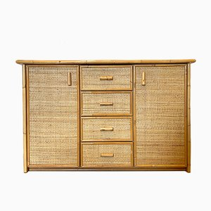 Wicker and Bamboo Credenza, 1970s