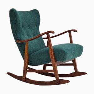 Restored Danish Rocking Chair in Wool & Beech, 1950s or 1960s
