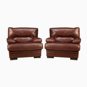 Italian Leather Armchairs, Set of 2
