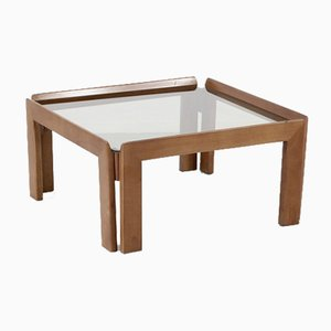 Mid-Century Italian Walnut and Smoked Glass Coffee Table by Tobia & Afra Scarpa