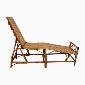 Chaise longue Art Déco in vimini di Perret & Vibert, Francia, anni '20