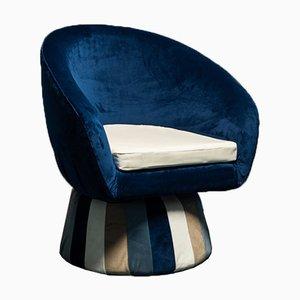 Circular Blue Velvet Lounge Chair, 1970s