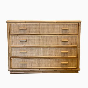 Chest of Drawers in Bamboo and Wicker, 1970s