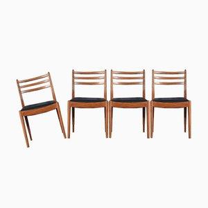 Mid-Century Stühle aus Teak & Kunstleder von G Plan, 1960er, 4er Set