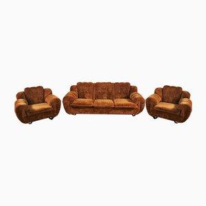 Juego de sillón y sofá de terciopelo, años 70. Juego de 3