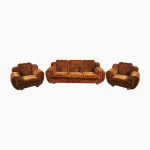 Velvet Lounge Chair and Sofa Set, 1970s, Set of 3