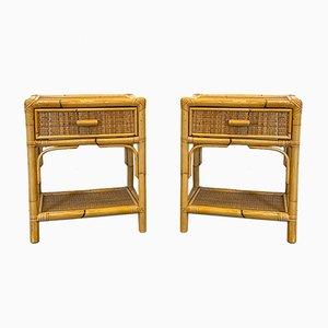 Tables de Chevet en Bambou et Osier, 1970s, Set de 2