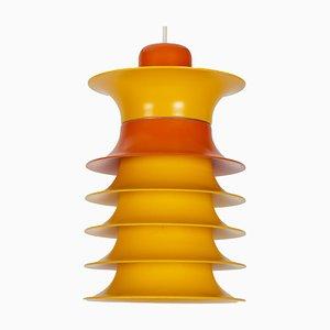 Dänische Vintage Hängelampe in Orange & Gelb