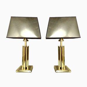 Messing Tischlampen im Stil von Willy Rizzo von Herda, 1970er, 2er Set