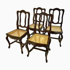 Stühle mit Rattangeflecht, Frankreich, 1750er, 4er Set