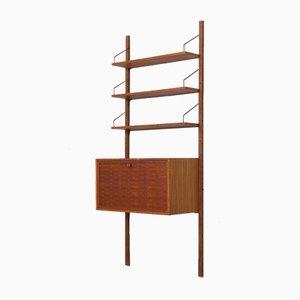 Mueble de pared de teca con secreter y tres estantes de Poul Cadovius, Denmark, años 60
