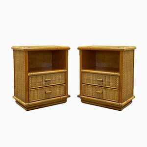 Bamboo and Wicker Bedside Tables, 1970s, Set of 2