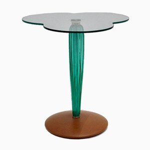 Clear Glass, Green Glass & Beech Clover Leaf Side Table, Italy, 1980s