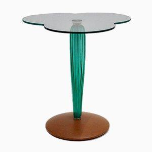 Mesa auxiliar italiana de vidrio transparente, vidrio verde y hoja de haya, años 80