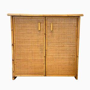 Credenza in bambù e vimini, anni '70