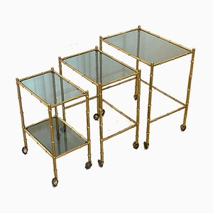Stackable Trolleys in Brass & Faux Bamboo 1970s, Set of 3