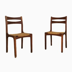 Chairs in Oak Wood and Intertwined Rope by Guillerme Et Chambron, France, 1960s, Set of 15