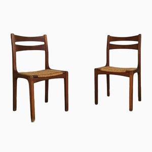 Stühle aus Eiche und Verflochtenem Seil von Guillerme Et Chambron, France, 1960er, 15er Set