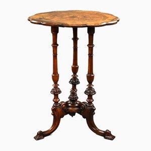 Viktorianischer Beistelltisch aus Nussholz mit Intarsien