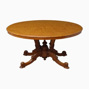 Tavolo da pranzo vittoriano in legno satinato
