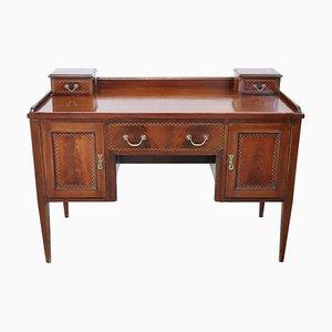 Vintage Inlaid Mahogany Writing Desk, 1800s