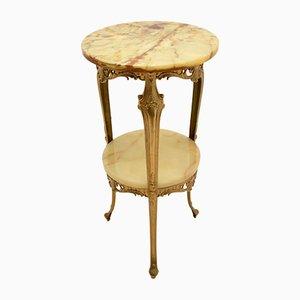 Tavolino antico in stile francese in ottone e onice