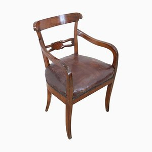 Antique Walnut Armchair with Leather Seat, 1850s
