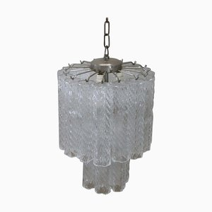 Lámpara de araña italiana de cristal de Murano de Venini, años 60