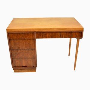 Vintage Walnut & Satin Birch Desk, 1950s