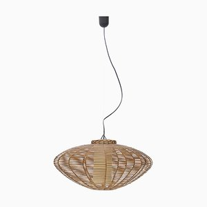 Pendant Lamp in Woven Rattan and Parchment, 1950s
