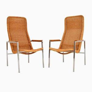 Vintage Chrome & Rattan Armchairs by Dirk van Sliedregt for Gebroeders Jonkers Noordwolde, 1960s, Set of 2