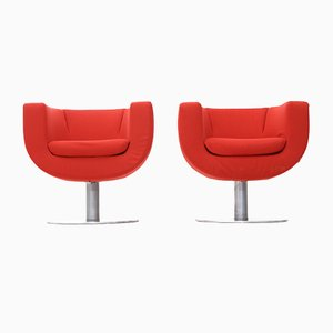 Tulip Armchairs in Red Fabric by Jeffrey Bernett for B&B Italia, 2000s, Set of 2